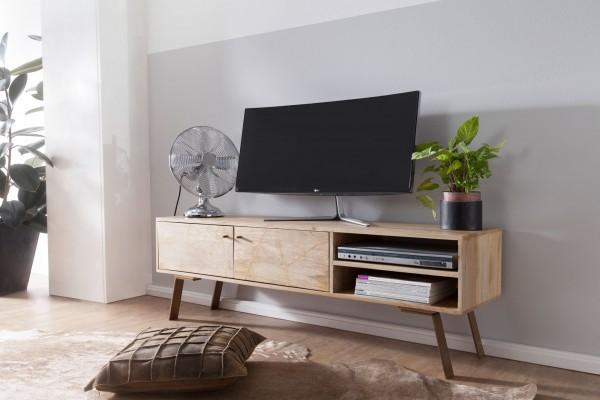 WOHNLING HiFi Lowboard 145 cm SIKAR Mango Massivholz Landhaus