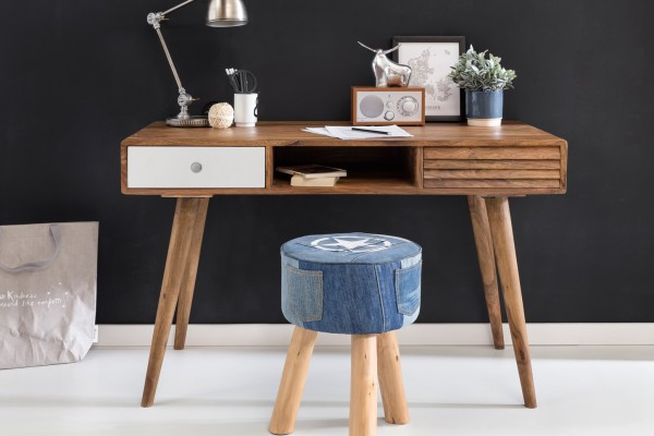 WOHNLING Schreibtisch REPA weiß 120 x 60 x 75 cm Massiv Holz Laptoptisch Sheesham Natur