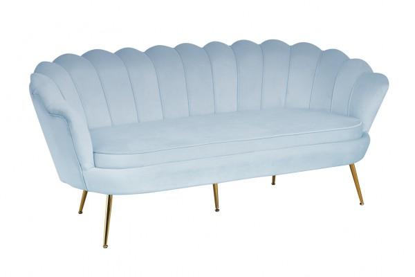 SalesFever Muschel-Sofa 3-Sitzer, B 180 cm, Bezug Samt-Stoff hellgrau
