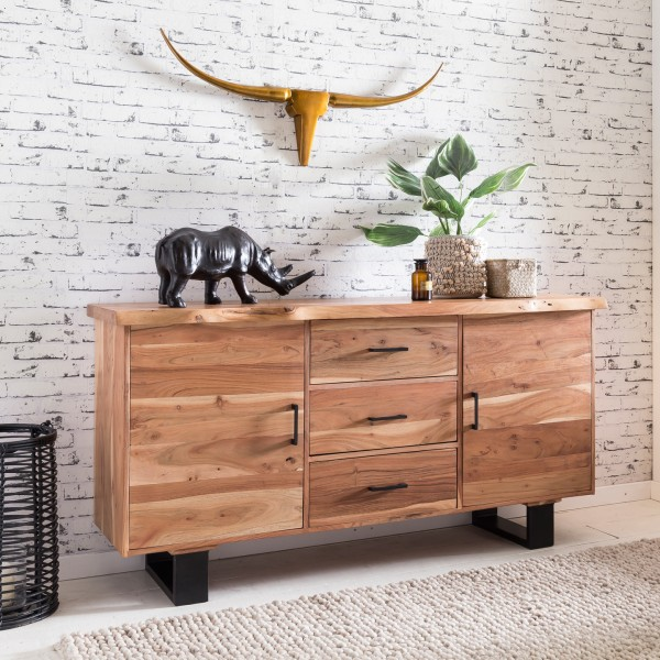 WOHNLING Sideboard GAYA 160 cm Massiv-Holz Akazie Natur Baumkante