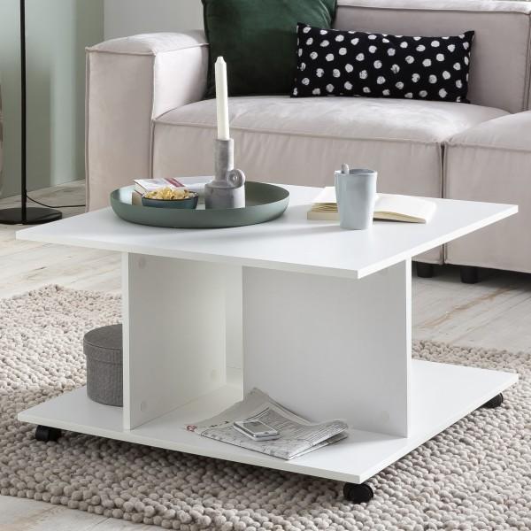 WOHNLING Design Couchtisch WL5.742 74 x 74 x 43,5 cm Weiß Drehbar mit Rollen | Wohnzimmertisch Coffe