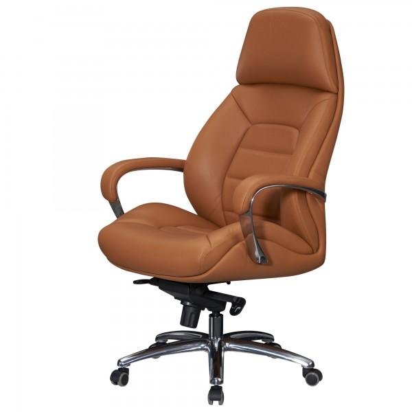 Amstyle Designer Bürostuhl Bezug Echtleder Caramel Schreibtischstuhl bis 120 kg | SPM1.436