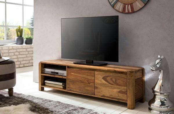 WOHNLING Lowboard BOHA Massivholz Sheesham Kommode 140 cm TV-Board Ablage-Fächer Landhaus-Stil