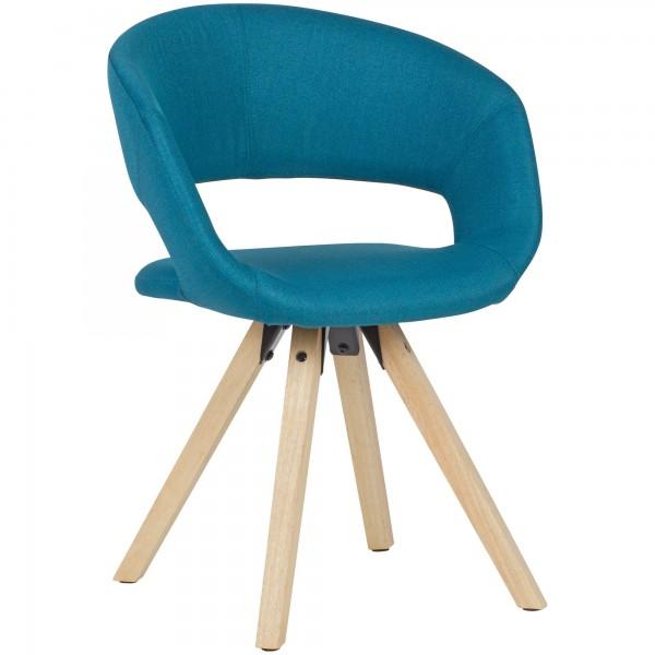 WOHNLING Esszimmerstuhl Petrol Stoff / Massivholz Retro | Küchenstuhl mit Lehne | Stuhl mit Holzfüße