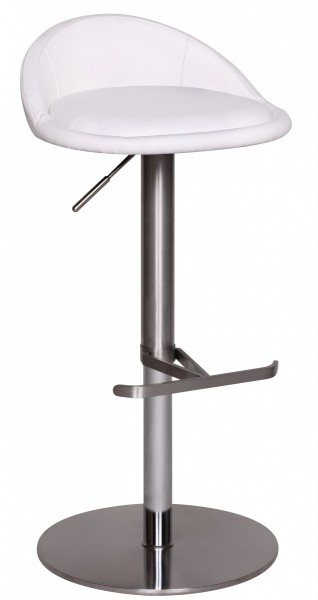 Barhocker WL1.282 Weiß Edelstahl höhenverstellbare Sitzhöhe 54-79 cm