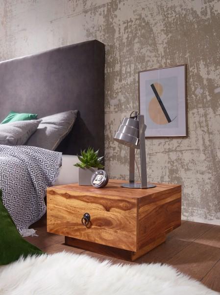 WOHNLING Design Nachttisch MUMBAI Massiv-Holz Sheesham 40x40x25 cm | Moderne Nacht-Kommode
