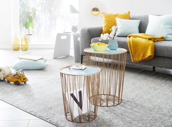 Wohnling Design Beistelltisch 2er Set Korbtisch Blau / Gold Satztisch Rund | Wohnzimmertisch Modern
