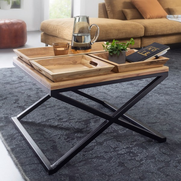Wohnling Couchtisch 60x60 cm Akazie Massivholz / Metall Tabletttisch