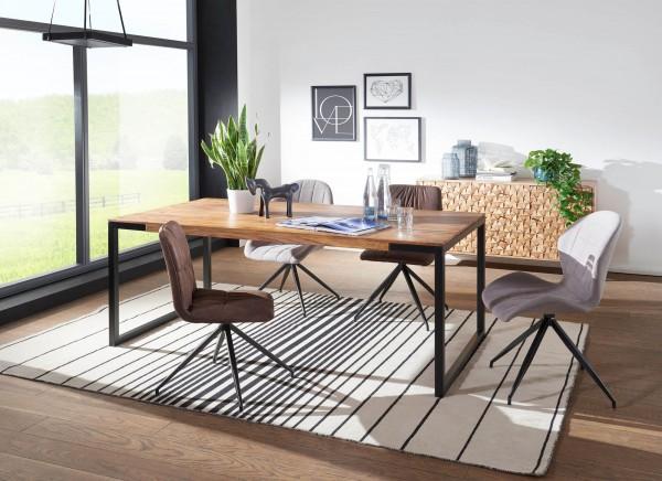 WOHNLING Esstisch 210x100x76 cm GOYAR Sheesham Holztisch mit Metallbeinen | Massiver Esszimmertisch