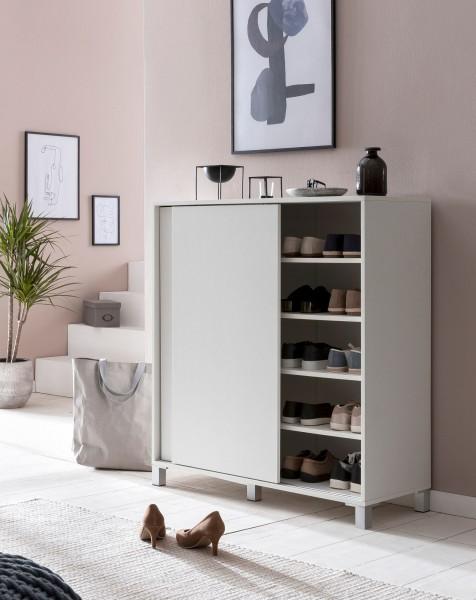 WOHNLING Schuhschrank WL5.712 Holz Weiß 100x108x37,5 cm Ablage Hoch | Design Schuhständer