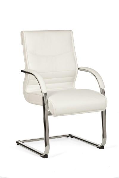 AMSTYLE Freischwinger MILANO Besucherstuhl Bezug Kunst-Leder Weiß | Design Schwingstuhl mit Armlehne