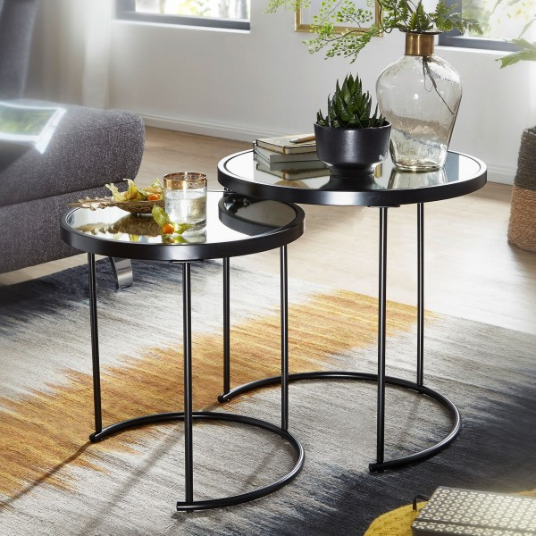 WOHNLING Design Beistelltisch Rund Ø 50/42 cm - 2 teilig Schwarz mit Spiegel Glas | Wohnzimmertisch