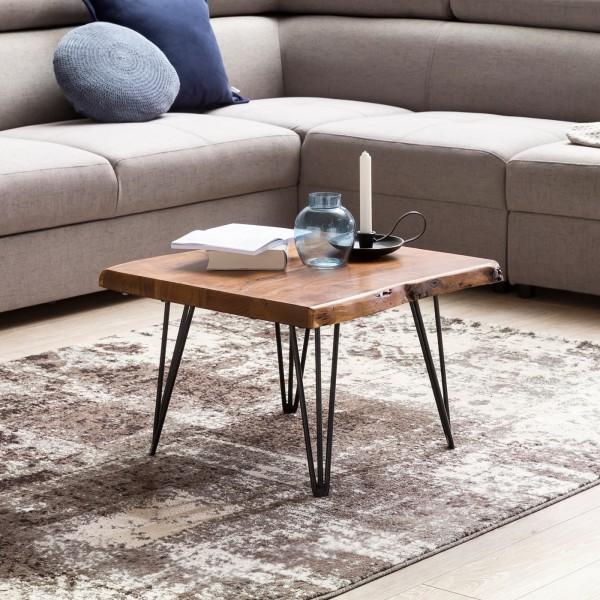 WOHNLING Design Couchtisch Massivholz Tisch Baumkante 56 x 38 x 51 cm