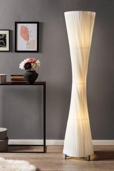 Stehlampe rund 180 cm Edelstahl, Latex Weiß 392942