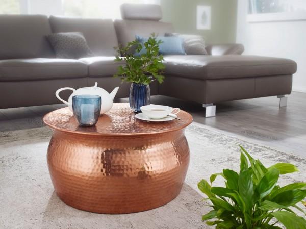 WOHNLING Couchtisch KARAM 60x30,5x60cm Aluminium Kupfer Beistelltisch orientalisch rund