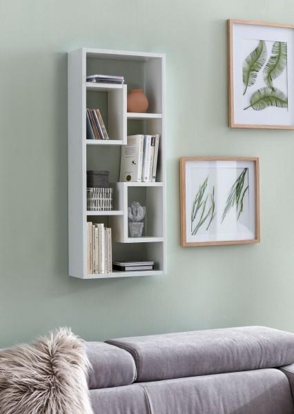 WOHNLING Wandregal ROSALIE Weiß 36x90x13,5 cm Holz Design Hängeregal modern   Wandboard freischweben