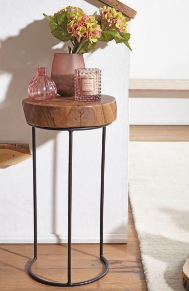 WOHNLING Beistelltisch Massiv-Holz Sheesham Metallbeine Landhaus-Stil