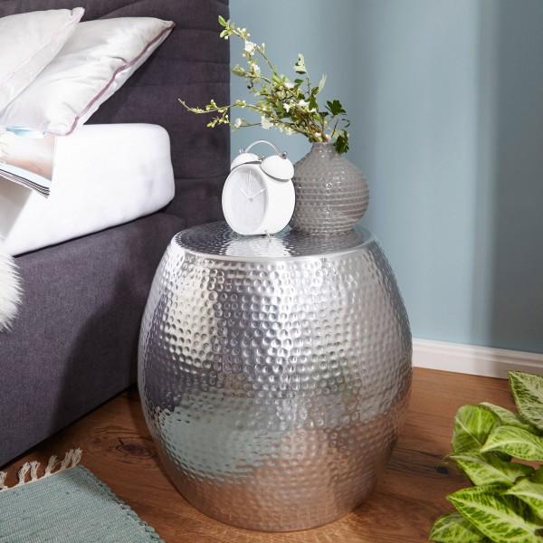 WOHNLING Beistelltisch PEDRO 42 x 42 x 42 cm Aluminium Silber Dekotisch Orientalisch Rund