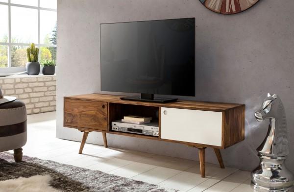 WOHNLING TV Lowboard REPA 140 cm Sheesham 2 Türen & Fach | braun / weiß