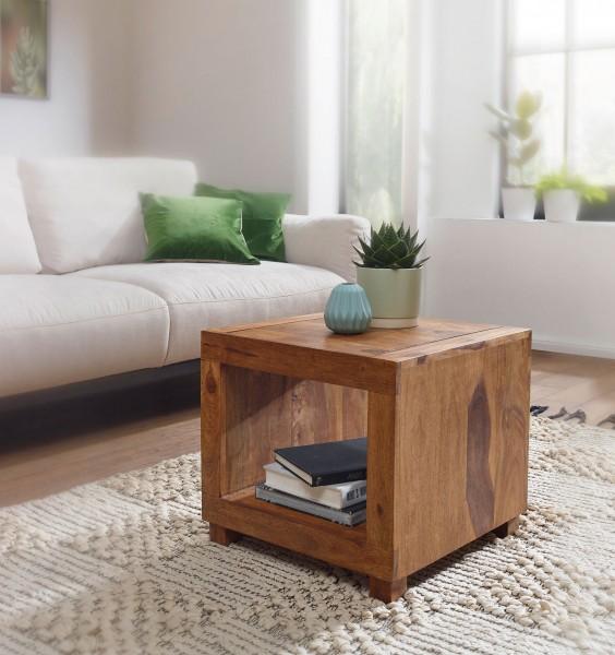 WOHNLING Couchtisch MUMBAI Massiv-Holz Sheesham 50 cm breit Wohnzimmer-Tisch Design dunkel-braun