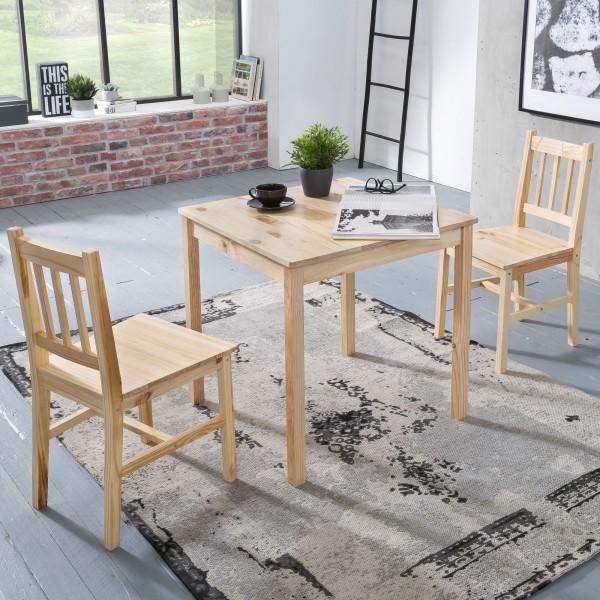 WOHNLING Esszimmer-Set EMIL 3 teilig Kiefer-Holz Landhaus-Stil 70 x 73 x 70 cm   Natur Essgruppe