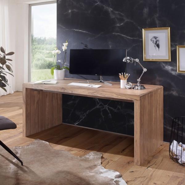 WOHNLING Schreibtisch BOHA Massiv-Holz Akazie Computertisch 140 cm breit Echtholz Design Ablage Büro