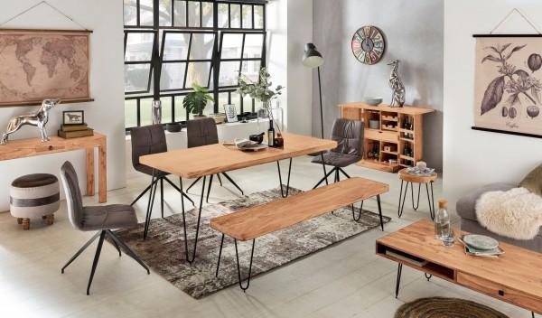WOHNLING Esstisch BAGLI Massivholz Akazie 200 x 76 x 80 cm Esszimmer-Tisch Küchentisch modern