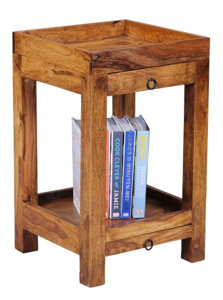 WOHNLING Beistelltisch MUMBAI Massiv-Holz Sheesham 65 cm Wohnzimmer-Tisch mit 2 Schubladen