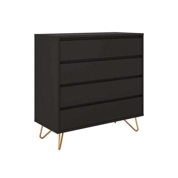 SalesFever Kommode 90 cm breit mit 4 Schubladen, Grau 393581