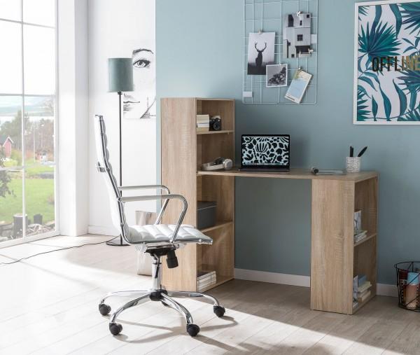WOHNLING Schreibtisch WL5.693 mit Regal 120 x 120 x 53 cm Sonoma Holz Modern | Schreibtischregal