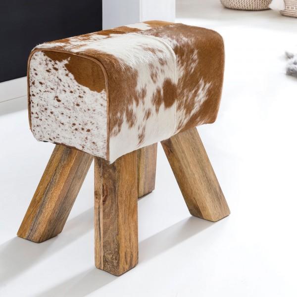 WOHNLING Design Turnbock Sitzhocker 40 cm Ziegenfell Braun / Weiß