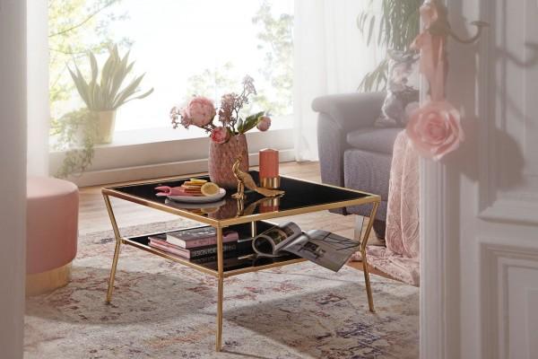 WOHNLING Design Couchtisch Glas Schwarz 70 x 70 cm 2 Ebenen Gold Metallgestell | Wohnzimmertisch | B