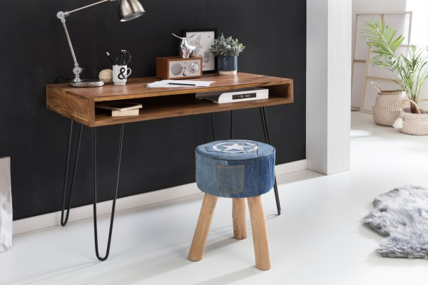 WOHNLING Schreibtisch BAGLI braun 110 x 60 x 76 cm Massiv Holz