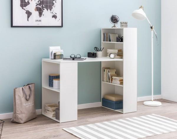 WOHNLING Schreibtisch WL5.692 mit Regal 120 x 120 x 53 cm Weiß Matt Holz Modern | Schreibtischregal