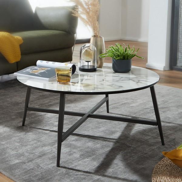 Design Couchtisch Rund 88 cm mit Marmor Optik Weiß mit Metall-Beine Schwarz
