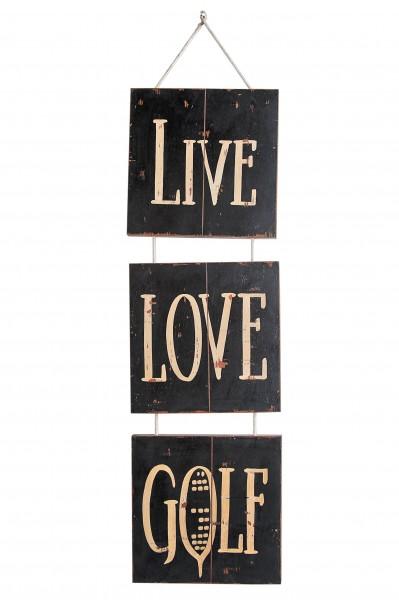 Tafel Live, Love, Golf 30x4x30 cm