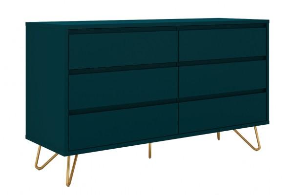 Kommode 120 cm breit mit 6 Schubladen - blau