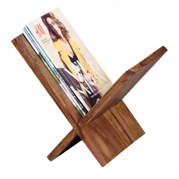 WOHNLING Zeitungsständer MUMBAI Massivholz Sheesham X-Form 31 cm Zeitschriften-Ständer Design