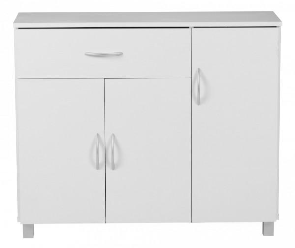 WOHNLING Sideboard JARRY Weiß matt mit 1 Schublade & 3 Türen 90 x 75 x 30 cm   Design Kommode