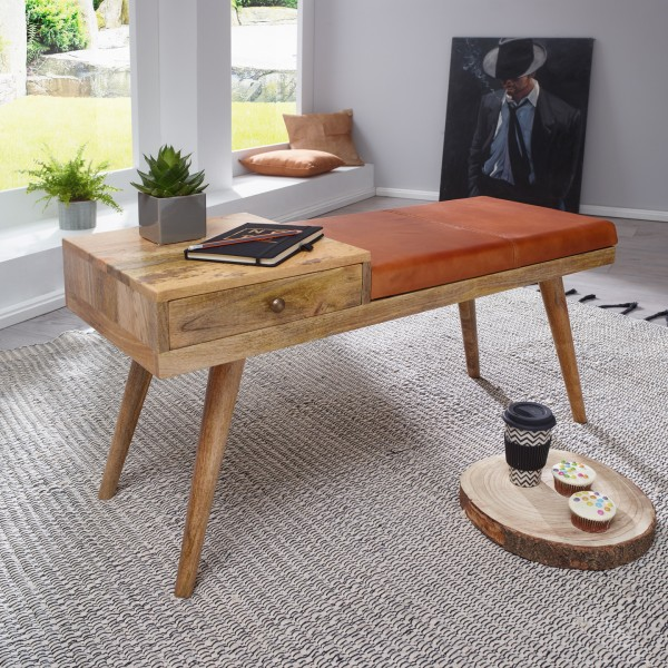 WOHNLING Sitzbank SALIM Ziegenleder / Massivholz Bank 100x52x38 cm im Retro Stil | Flur Polsterbank