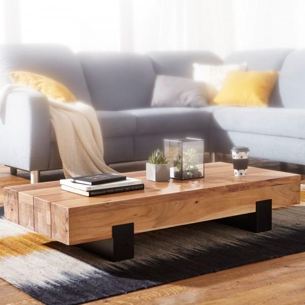 WOHNLING Couchtisch SORON 130x25x59cm Akazie Massivholz / Metall Sofatisch | Design Wohnzimmertisch