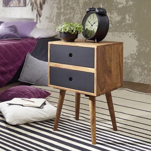 Nachtkonsole Sheesham-Holz Nachttisch mit 2 Schubladen dunkelbraun / schwarz