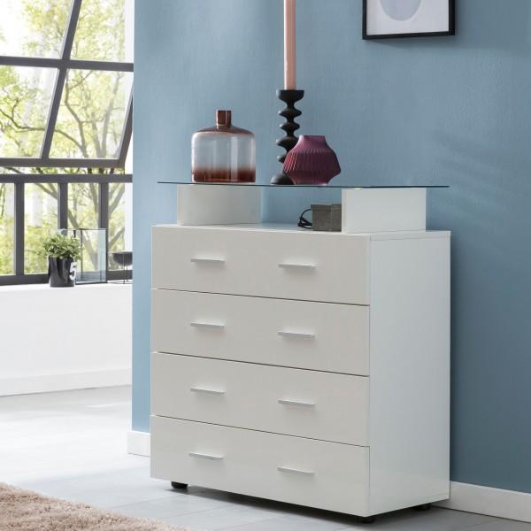 WOHNLING Design Sideboard WL5.850 Weiß Hochglanz 76x84x35 cm Anrichte Holz Modern | Hohe Schubladenk