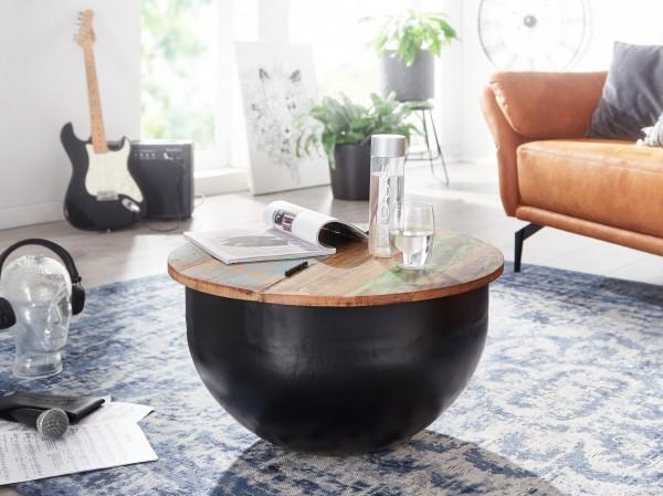 Wohnling Couchtisch Mango 60x34x60 cm Massivholz Metall Tisch Schwarz Industrial Rund