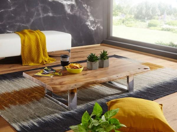 WOHNLING Couchtisch ASURA 115 x 25 x 58 cm Akazie Massiv Holz Metallgestell groß | Baumstamm