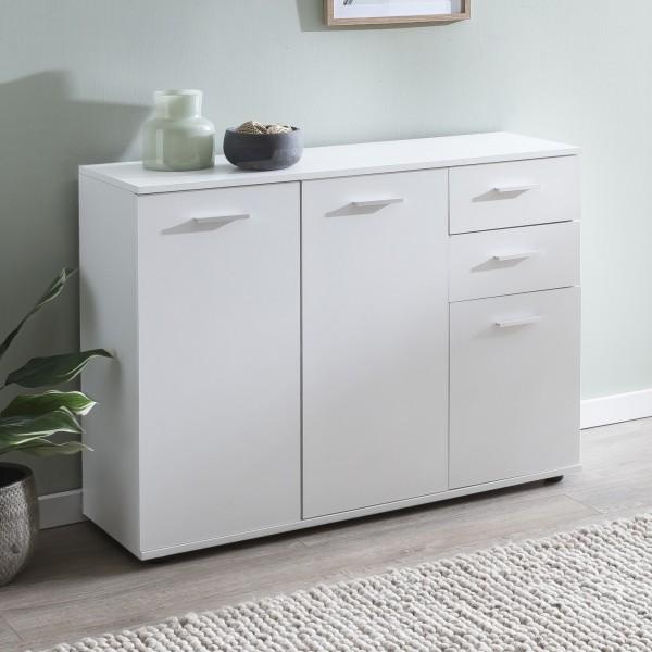 WOHNLING Kommode WL5.289 mit Türen & Schubladen 107x79x35 cm Schrank Holz Weiß | Flurschrank