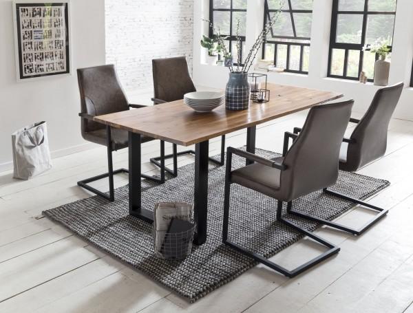 SalesFever Essgruppe 5-tlg. 160 x 85 cm 4x Armlehnstuhl Kunstleder + Metall