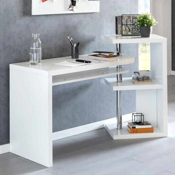 WOHNLING Schreibtisch MARCIE 145x50x94 cm Bürotisch mit Regal Weiß Hochglanz | Winkelschreibtisch