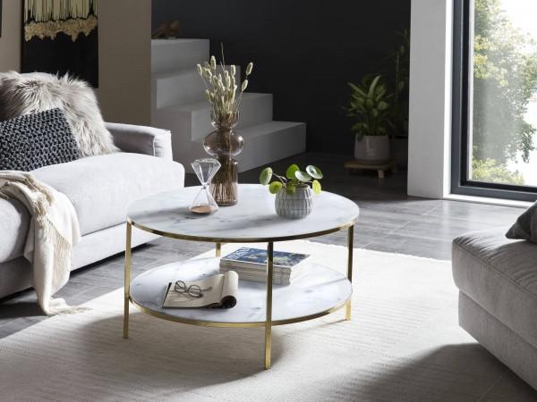 Designer Couchtisch rund mit 2 Ablagen Ø 80 cm - weiß/gold