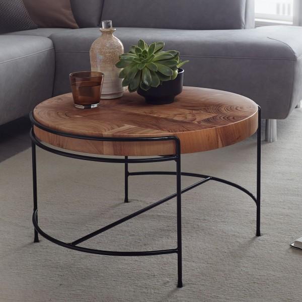 Design Couchtisch 62 cm Sofatisch Akazie Massivholz / Metall | Rund mit Metall